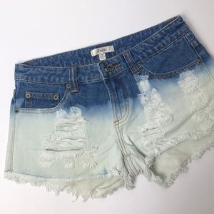 Dani dip dyed distressed mid rise jean shorts